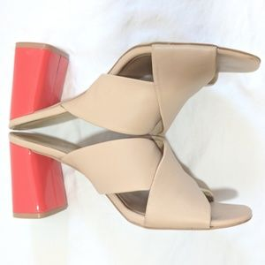 kate spade Shoes - Kate Spade Silene Nude Sandals with Red Block Heel